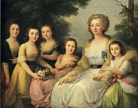 Portrait of Countess A S Protasova with Her Nieces, 1788, kauffman