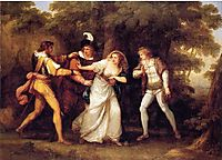 Valentine Rescues Silvia in -The Two Gentlemen of Verona-, 1789, kauffman