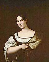 Dark-haired beautiful woman in an ermine mantle, kiprensky