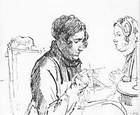 Knitting. Two women at the table, 1816, kiprensky