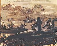 Landscape with barge haulers, 1810, kiprensky