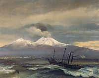 View of  Mount Vesuvius in winter, 1830, kiprensky
