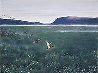 The 12 wild ducks 12 villender, 1897, kittelsen