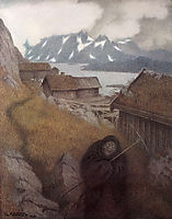 She Is Making Her Way Through the Country, 1900, kittelsen