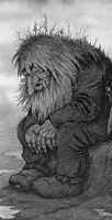 Troll wonders how old he is - Trollet som grunner på hvor gammelt det er, 1911, kittelsen