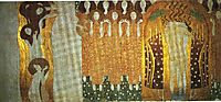 The Beethoven Frieze: The Longing for Happiness Finds Repose in Poetry. Right wall, 1902, klimt