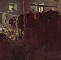 Cows in the barn, 1901, klimt