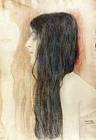 Girl with Long Hair, with a sketch for -Nude Veritas-, 1899, klimt