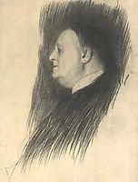 Portrait of a man heading left, klimt
