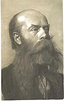 Portrait of a man with beard in three quarter profil, klimt