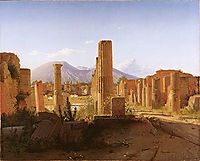The Forum, Pompeii, with Vesuvius in the Distance, 1841, kobke