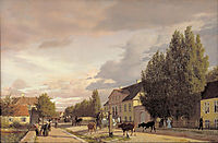 View of a Street in Østerbro outside Copenhagen. Morning Light, 1836, kobke