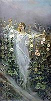 Girl Between Hollyhocks, 1900, kotarbinski