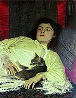 Girl with aCat, 1882, kramskoy