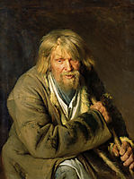 Old Man with a Crutch, 1872, kramskoy