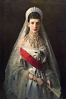 Portrait of Maria Fyodorovna, born Princess Dagmar of Denmark , wife of russian tsar Alexander III, c.1880, kramskoy