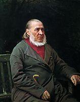 Portrait of Sergei Timofeevich Aksakov , 1878, kramskoy