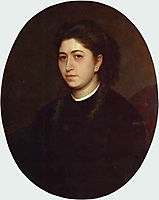 Portrait of a Young Woman Dressed in Black Velvet, 1863, kramskoy