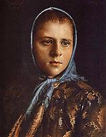 Russian Girl in a Blue Shawl, 1882, kramskoy