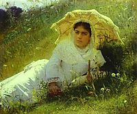 Woman with an Umbrella (In the Grass, Midday), 1883, kramskoy