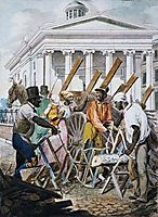 Black Sawyers Working in Front ot the Bank of Pennsylvania, Philadelphia, krimmel