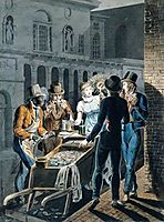 Nightlife in Philadelphia - An Oyster Barrow in front of the Chestnut Street Theater, krimmel