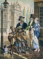 Wordly Folk Questioning Chimney Sweeps and Their Master Before Christ Church in Philadelphia, 1813, krimmel
