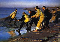 Fishermen Hauling the Net on Skagen-s North Beach, 1883, kroyer