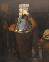 Italian village workers making hats, 1880, kroyer