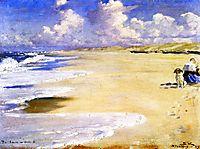 Marie Krøyer Painting on the Beach at Stenbjerg, 1889, kroyer
