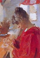 Marie in red dress, 1890, kroyer