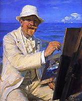 Self-Portrait, Sitting by His Easel at Skagen Beach, 1902, kroyer