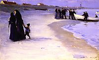 A White Boat at the Shoreline, Late Summer Evening, 1895, kroyer