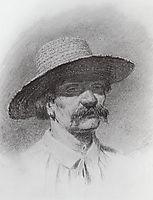 Men-s head in a straw hat, kuindzhi