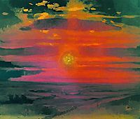 Sunset in the winter. A coast of the sea, c.1890, kuindzhi
