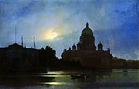 View of the Isaac Cathedral at Moonlight Night, 1869, kuindzhi
