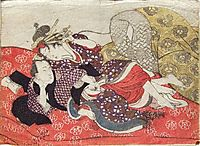Foreplay on a Red Futon, 1835, kunisada