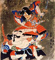 Ichikawa Danjuro VII and Bando  Mitsugoro III as Soga no Goro and  Asaina no Saburo, 1827, kunisada