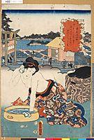 Komachi washing Soshi, 1853, kunisada