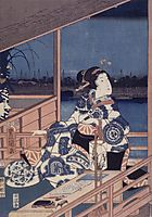 Moonlight View of Tsukuda with Lady on a Balcony, kunisada