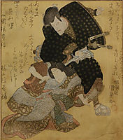Portrait of the actor Ichikawa Danjuro VII in the role of Jiraiya, the thief and the magician. He wears a black kimono with large gray dots., 1850, kunisada