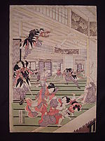 Ronins attack on the house of lord Kira (left panel of a triptych), kunisada