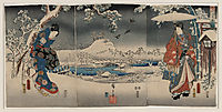 Snowy landscape with a woman brandishing a broom and a man holding an umbrella, kunisada