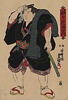 Sumo wrestler Somagahana Fuchiemon, kunisada
