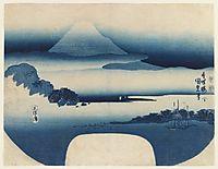 View of Fuji from Miho Bay, May, 1830, kunisada