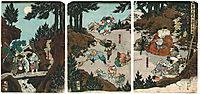 Ushiwaka-maru training with the tengu, kunisadaii