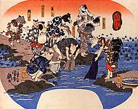 Animals dyeing fabrics, kuniyoshi