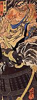 Benkei dragging the Miidera bell up a mountain, kuniyoshi