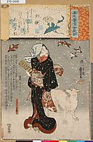 Bijin with a dog in the snow, 1845, kuniyoshi