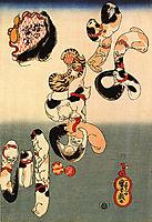 Cats forming the caracters for catfish, kuniyoshi